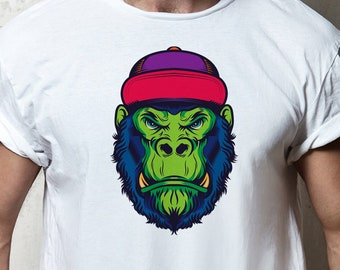 4ceb0dbe3 Green Grumpy Gorilla Ape Mens-Fit T-shirt.