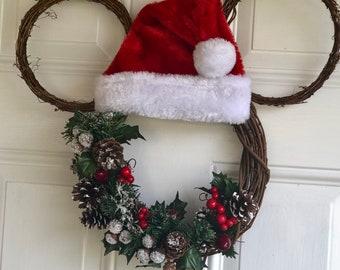 santa mickey mouse christmas wreath - Mickey Mouse Christmas Wreath