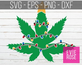 Marijuana Christmas Tree SVG EPS PNG Dxf File Set