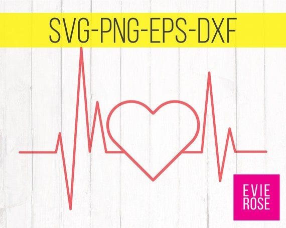 Heartbeat With Heart Svg Cut File Nurse Ekg Ecg Life Etsy