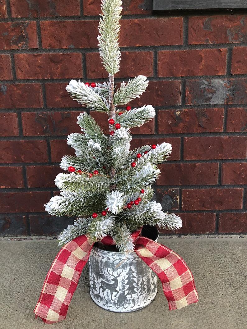 Farmhouse flocked tabletop artificial Christmas tree