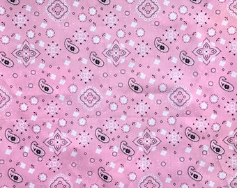 Pink Bandana Cowgirl Western fabric sold by 1/4,  1/3, 1/2, 3/4, 1 or 2 yard Quilters fabric Crafters Fabric