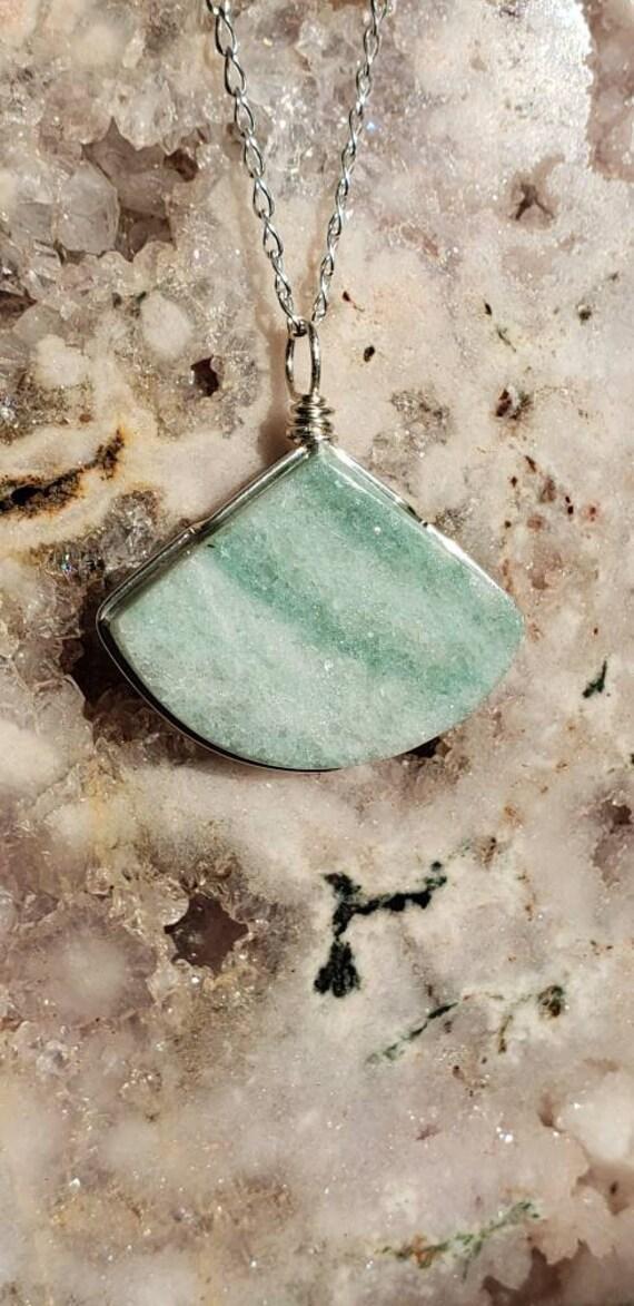 Small Green Marble Fan Pendant
