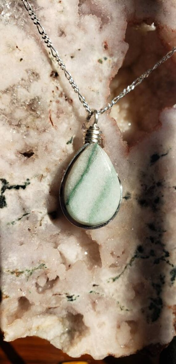 Green Marble Drop Pendant