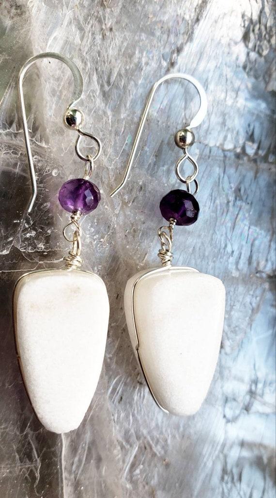 Marble and Amethyst Earrings