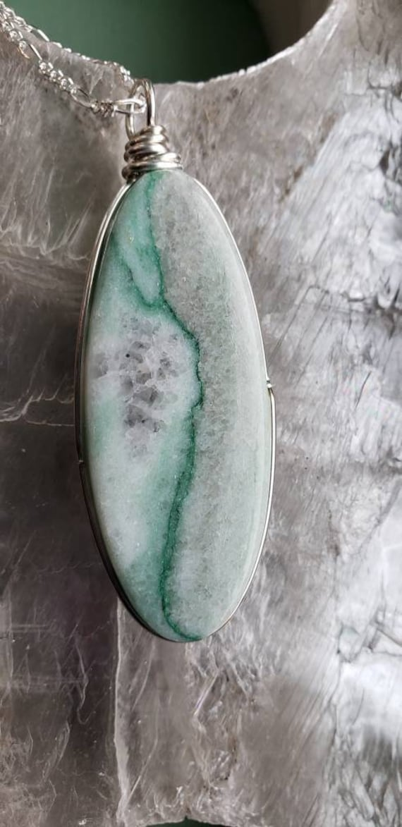 Large Oval Green Marble Pendant