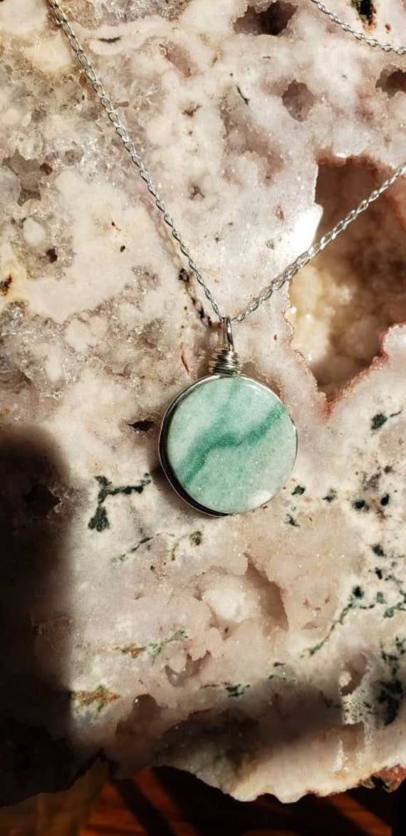 Round Green Marble Pendant