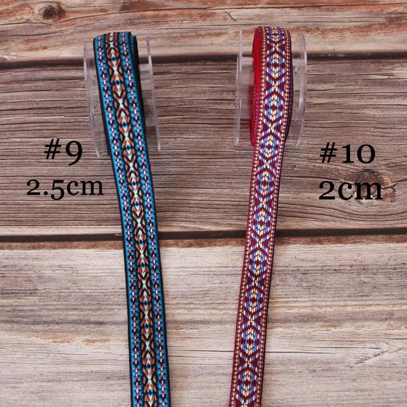 Jacquard ribbon /'boheme/' dor flowers border 3.50 cm
