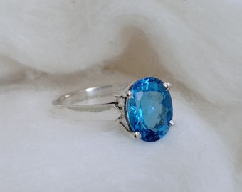 Natural Blue Topaz Statement Ring 92.5 Sterling Silver Engagement Ring Wedding Snd Anniversarey Gift For her on SALE SALE