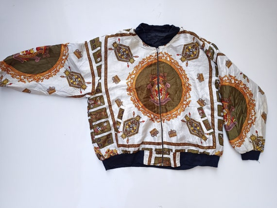 Vintage 90s Chanel Bomber Silk Jacket Crown Logo M