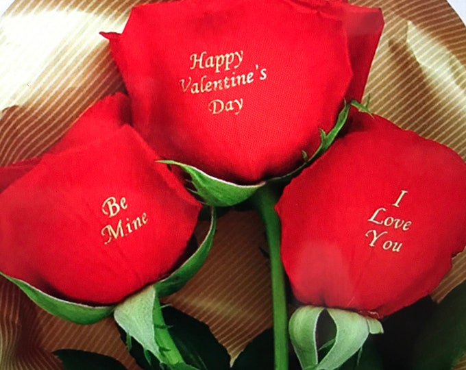 Valentine's Day ( 3 Red Roses) - I love you, Be mine, Happy Valentine's Day