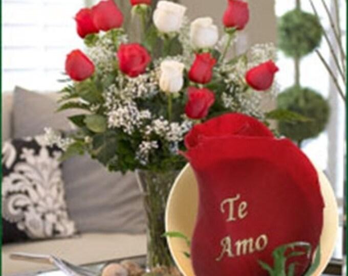 12 Roses - Te amo (9 Red, 3 White)