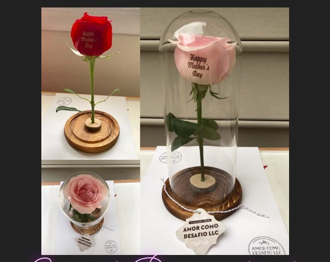 Personalized Preserved Rose in Glass Case