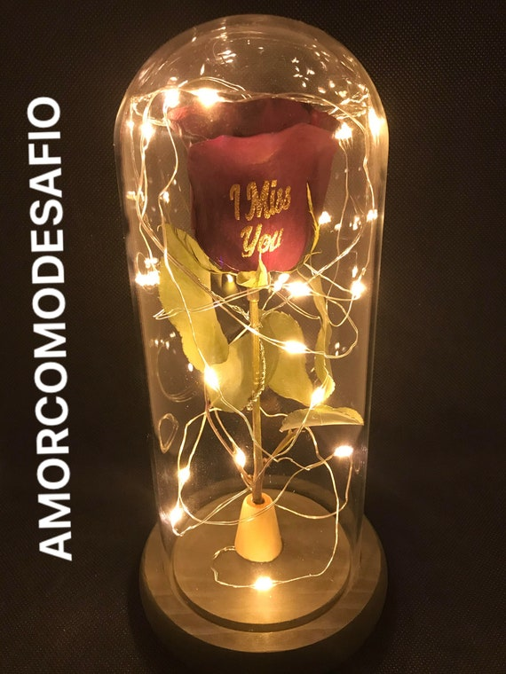 Personalized Preserved Rose Lamp
