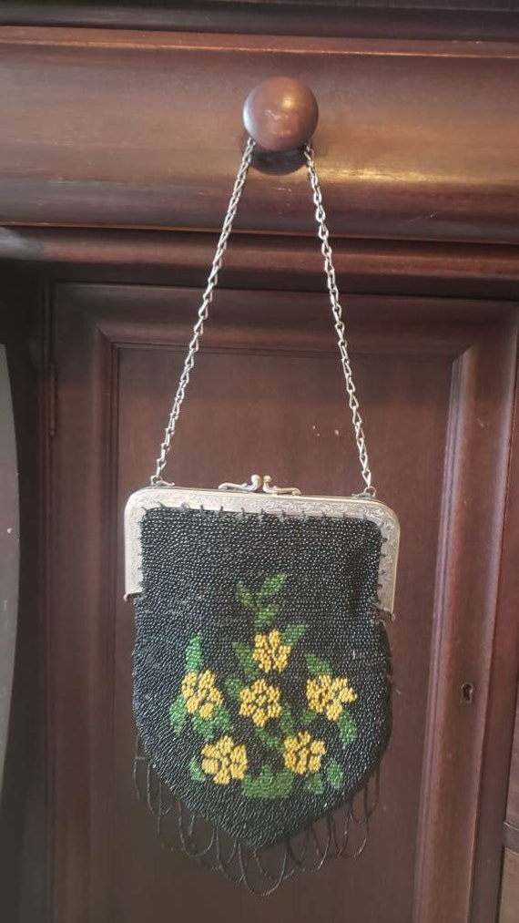 Vintage Beaded Bag*Beaded Purse*Beaded purse yello