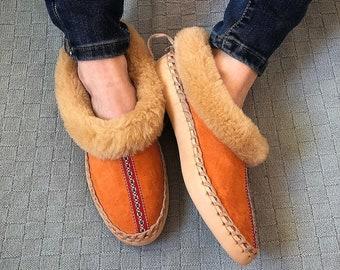 f8cf08aa1564 Sheepskin slippers Fur slippers Leather slippers Warm slippers Fuzzy  slippers Mothers day gift idea 41