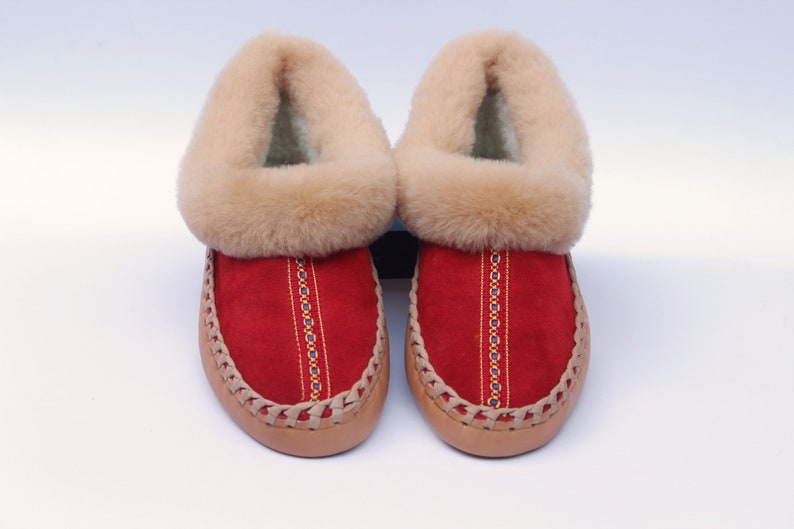 7745935853e4b Sheepskin slippers women | Leather and fur house shoes | Warm shearling  moccasin boot | Mothers day gift idea EU 40