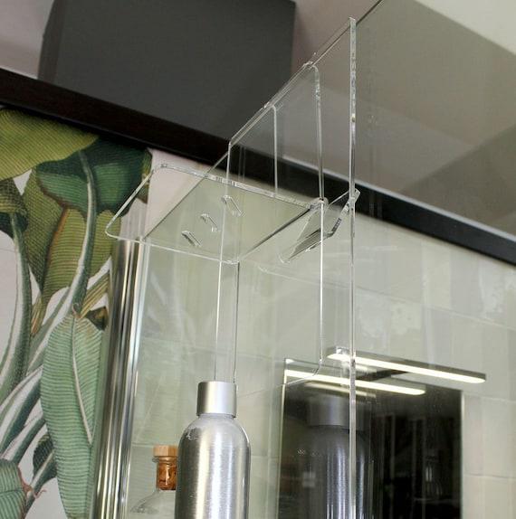 Agplex Portasapone Doccia In Plexiglass Con Porta Asciugamani Mensola Per Doccia Misure In Cm 24x20xh45