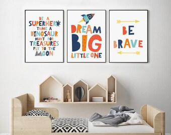 Inspirational Wall Art For Kids, Scandi Nursery Prints, Kids Poster,  Playroom Prints, Nursery Decor Set Of 3, Kids Room Decor, Kids Prints