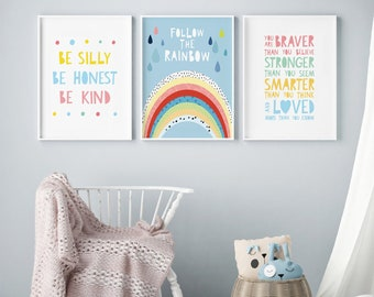 Nursery Wall Art Set, Kids Room Poster, Scandi Kids Posters, Follow The  Rainbow Nursery Decor, Modern Nursery Wall Prints, Girls Room Decor