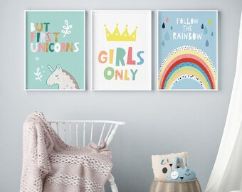 Beautiful Nursery Prints For Kids Room, Girls Bedroom Decor, Nursery Set Of 3 Prints, Girl  Room Decor Kids Wall Art Girls Nursery Prints Rainbow Print