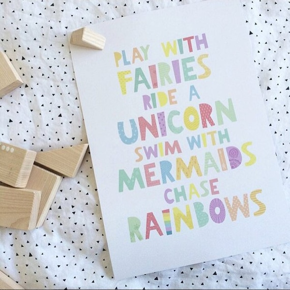 cute quotes Fairies Unicorns Mermaids Fly to the moon Copper nursery print