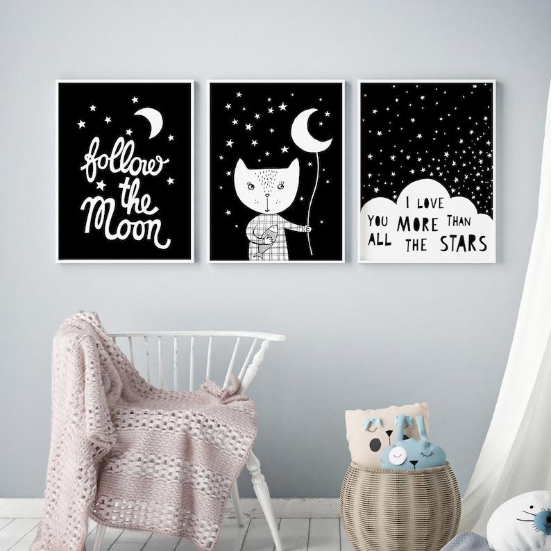 Monochrome prints black and white animal prints kids wall Full set ( 3 prints)