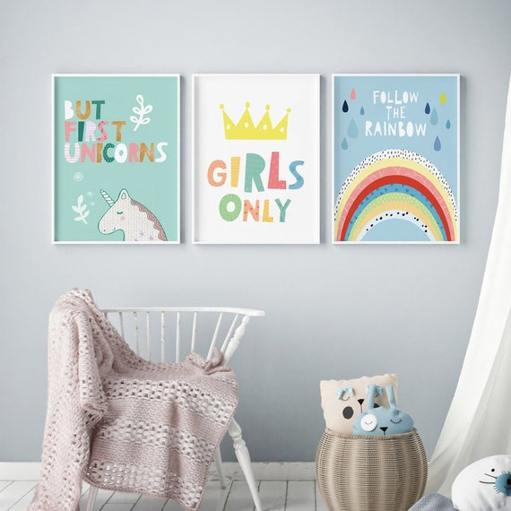 Delightful Nursery Prints For Kids Room Girls Bedroom Decor Nursery Set | Etsy
