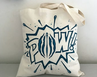 Tote Bag • Pussy Pow! • Blue • Pussy Power • feminist