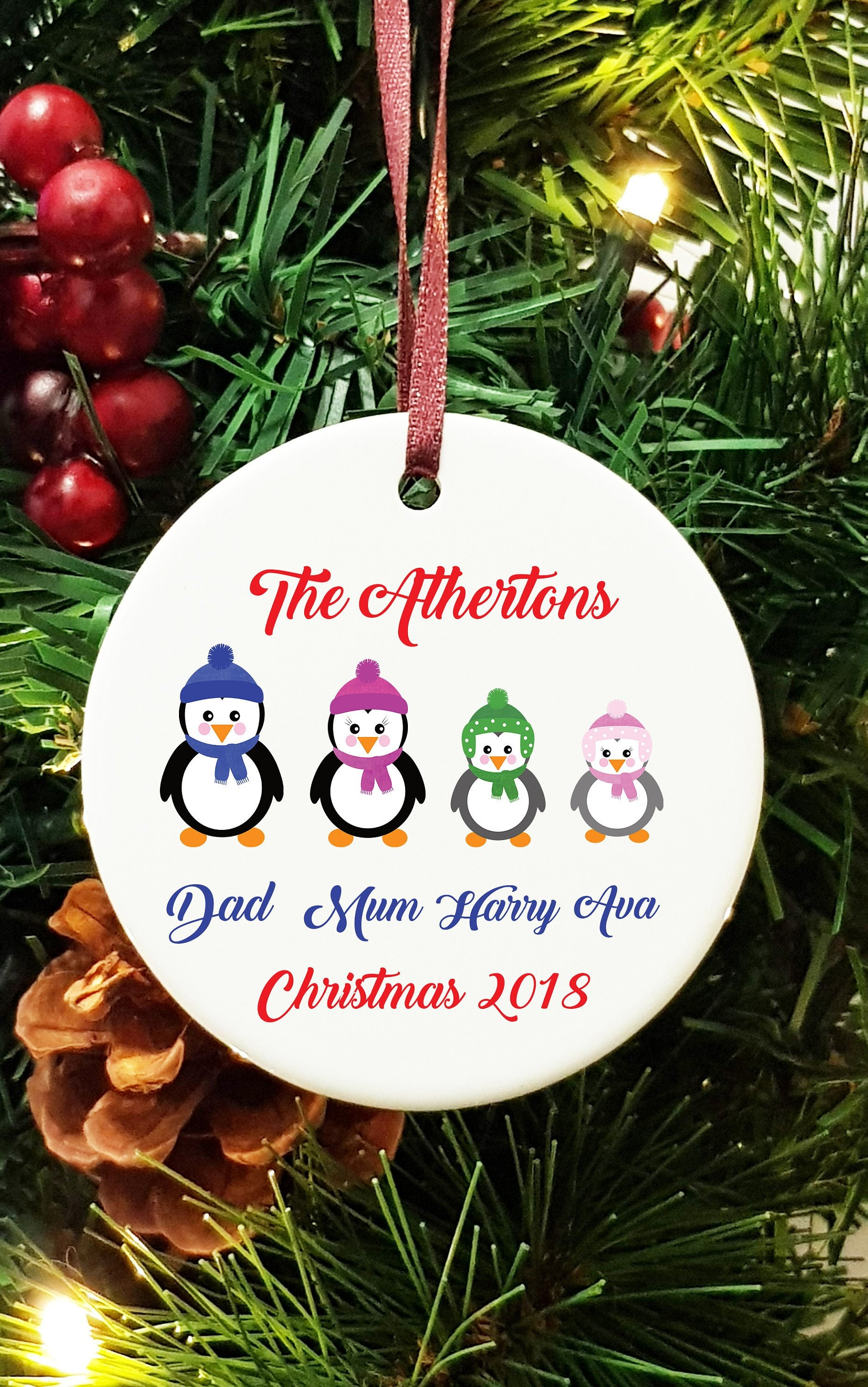 Personalised Ceramic Christmas Tree Decoration Hanging Ornament Cute Penguin Family Name
