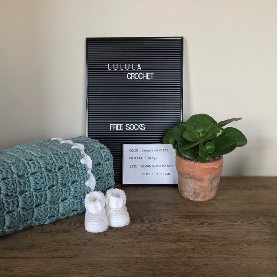 100x75cm 29.5x39inch Baby Blanket *sea green* crochet