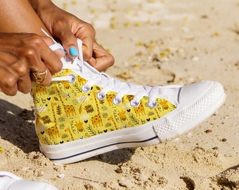 5e886eaa66 High Tops Giraffe Design Shoes Gift for Her Unique Canvas Shoes custom print  sneakers KIds