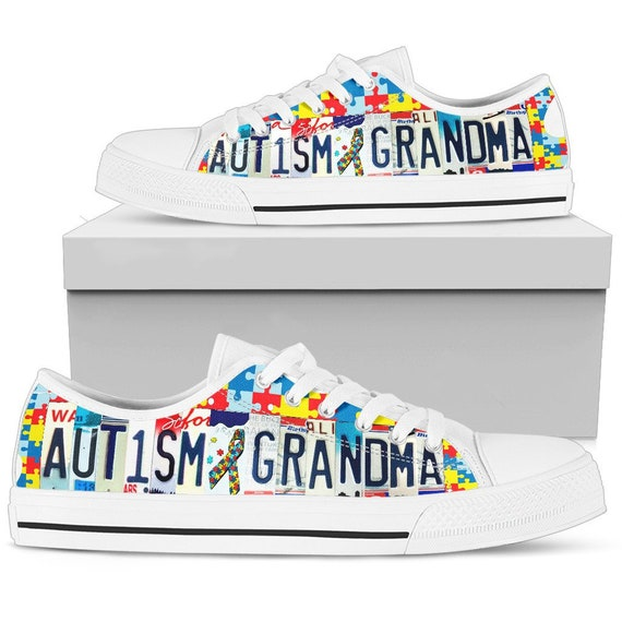 Autism Grandma Custom Shoes For Women License Plate Custom Sneakers Low Top Tennis Shoes Colorful Sneakers