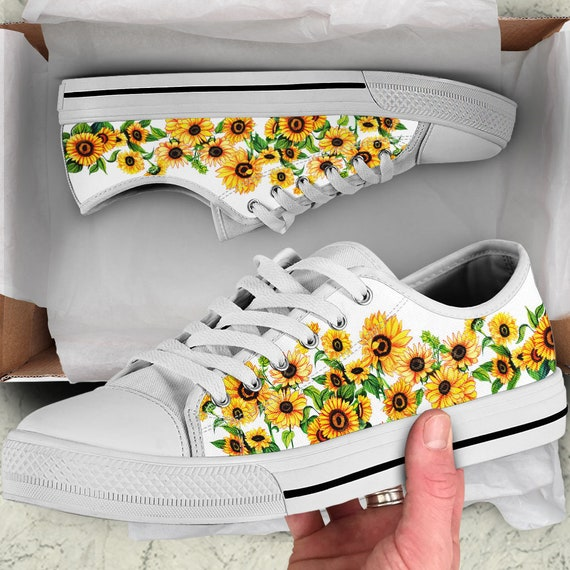 Sunflower Canvas Shoes White Custom Low
