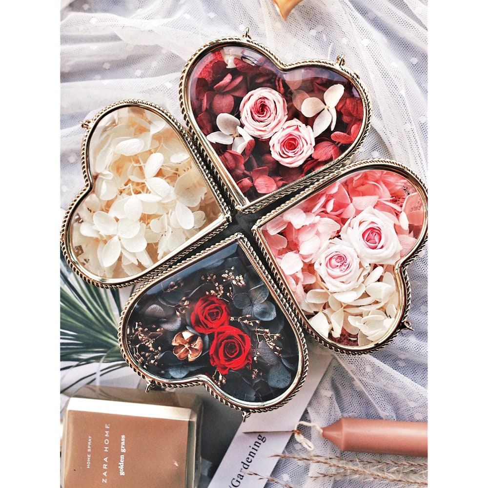 Preserved Flower Heart Shape Wedding Ring Box Diy Engagement Etsy
