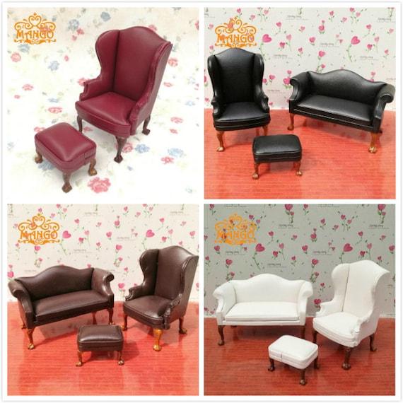Sensational 1 12 Dollhouse Vintage Leather Sofa Chairs Miniature Living Sitting Room Furniture Sofa Couch Settee Set Creativecarmelina Interior Chair Design Creativecarmelinacom