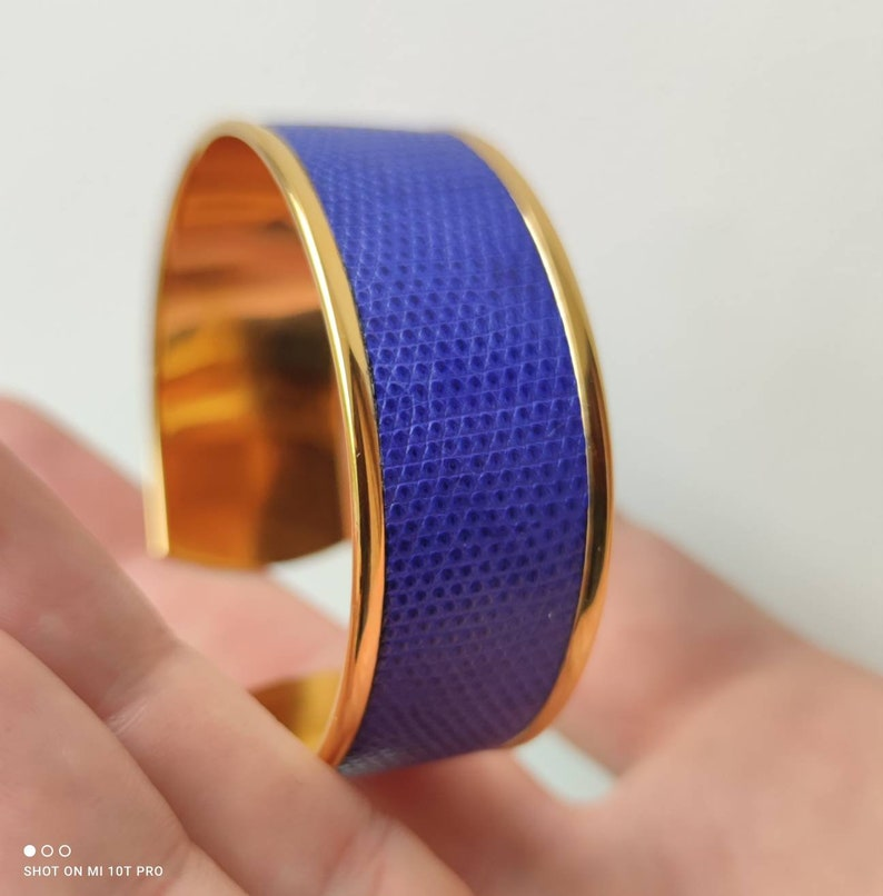handmade fine gold-plated cuff and varan Women/'s gold-plated adjustable bracelet and varan leather