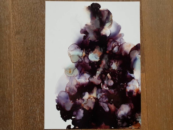 Original Abstract Art Alcohol Ink Painting Monochromatic Moody Piece Great Gift