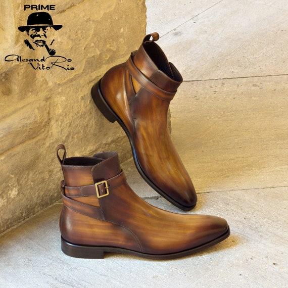 Hommes chaussures cuir, Jodhpur, Jodhpur, Jodhpur, fabriqué à la main, fait à la main des meilleures qualités de patine de croûte de cuir/cognac   Authentique  e69af4