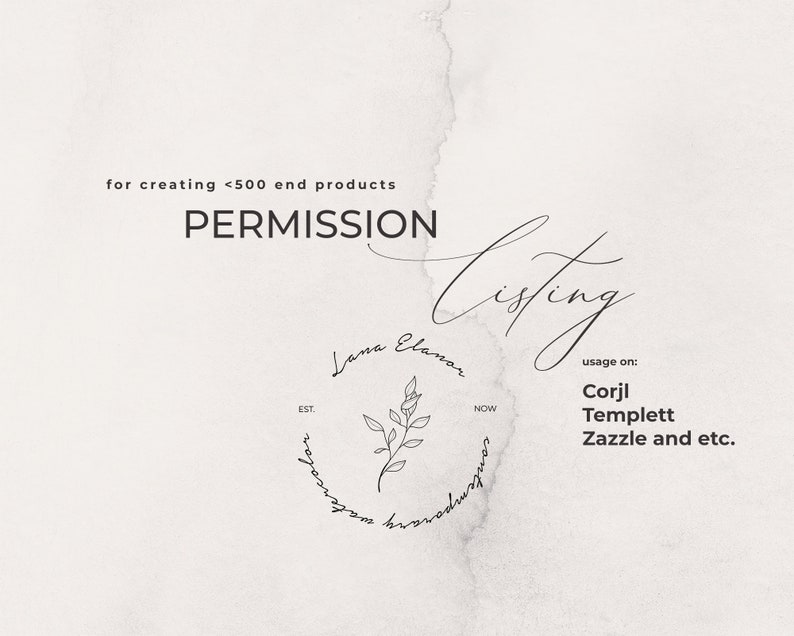 License from LanaElanor for using on sites like Corjl Templett Permission Zazzle and etc.