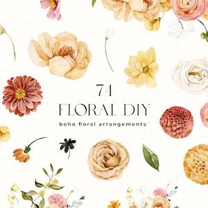 Summer Floral Bouquets Diy Watercolor Set Frames Etsy