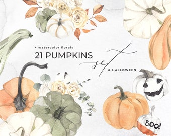Watercolor Pumpkins + HALLOWEEN Set painted decorate scary pumpkin, Floral bouquets, autumn fall vase flowers collection Digital Clipart PNG