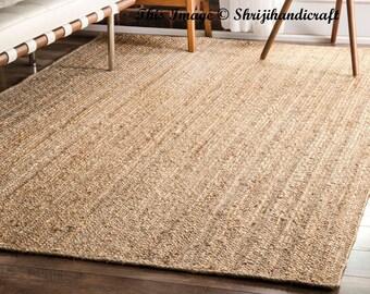 Indian Braided Floor Jute Rug, Natural Jute Rug. Natural Rug. Jute Handwoven Rug. Jute Rug. Eco Rug. Rectangle Rug Solid Area Rugs 6x9 Feet