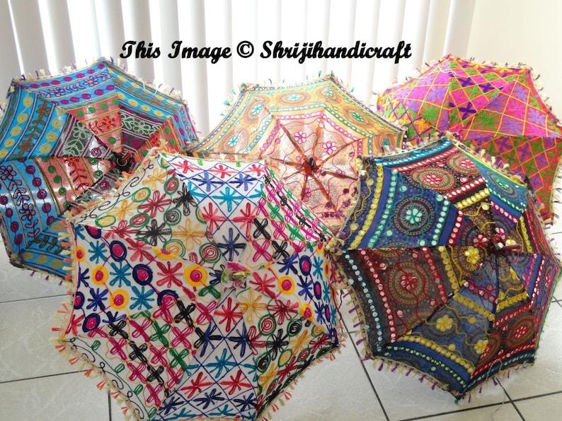 30 PC LOT Indian Kantha Embroidered Parasol Cotton Vintage Sun Protect Umbrella