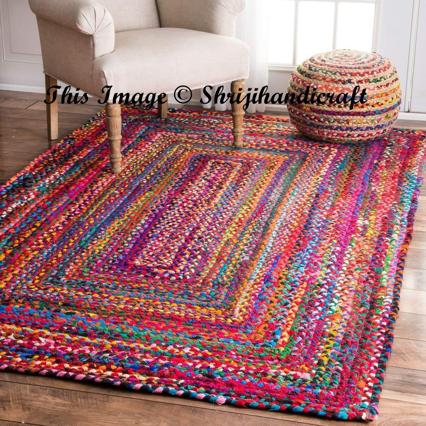 Braided RAG RUG Braided Carpet Rug Meditation Mat Mandala
