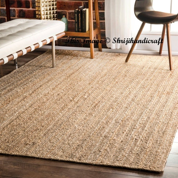 Indian Braided Floor Rug Handmade Jute Rug Natural Jute Rectangle Rug Indian Handmade Handwoven Ribbed Solid Area Rugs Beautiful Floor Rug