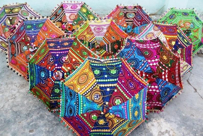 15 Pcs Lot Indian Cotton Fabric Mirror Work Vintage Parasol Handmade Embroidery Ethnic Umbrella Wedding Umbrella Outdoor Decorations Parasol