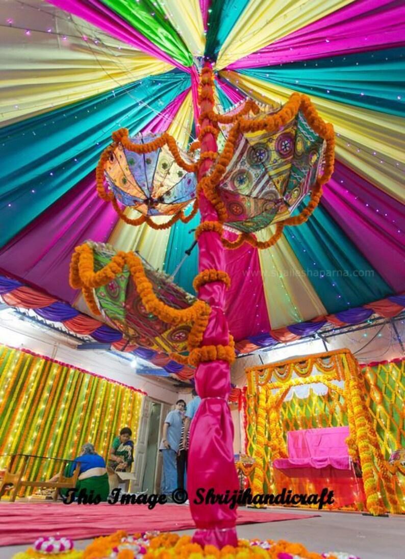 20 Pcs Lot Indian Wedding Umbrella Decoration Mirror Work Vintage Parasols Handmade embroidery Elephant Umbrella Decorations Cotton Umbrella
