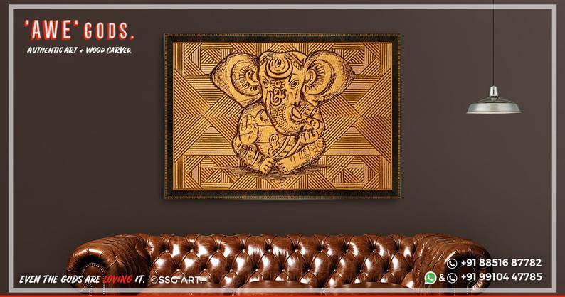 GANESHA PREMIUM Wood Carved Artifact Supreme Spiritual Vintage Indian God Dine Bed Room Statue Figurine Panel Celestial Unique Natural