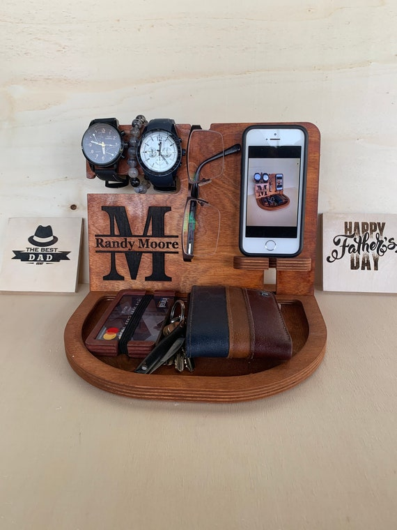 Wood Organizer,Docking Station,Anniversary Gift Men,Nightstand Organizer,Glasses Holder,Charging Dock,Wooden Phone Stand,Husband Gift by Etsy
